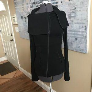 anatomie black asymmetrical zip up sweater sz XS